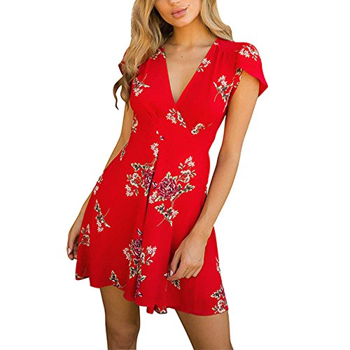 Damen Kurzarm Kleid Minikleider Blumenkleid Drucken Strandkleid Vintage Abendkleid Rundhals...
