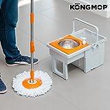 Omnidomo Kong Mop Easy Fregona Giratoria con Cubo Deslizante, Polipropileno, Naranja, 29x28x49 cm