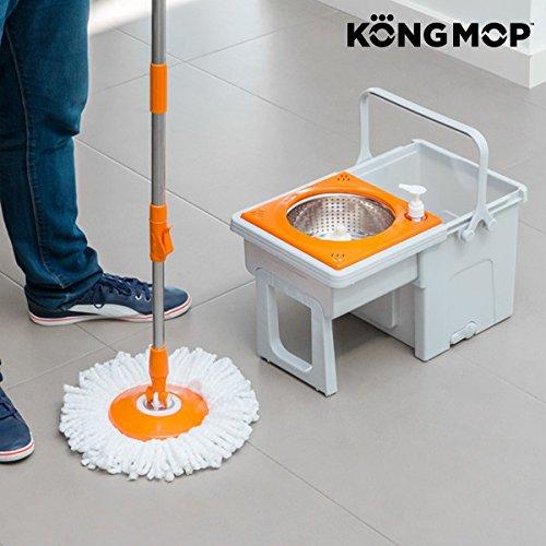 Foto de Omnidomo Kong Mop Easy Fregona Giratoria con Cubo Deslizante, Polipropileno, Naranja, 29x28x49 cm