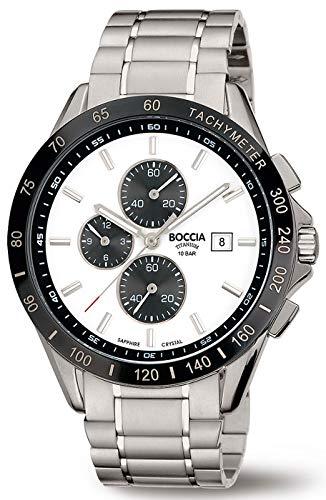 Boccia Herren Chronograph Quarz Uhr mit Titan Armband 3751-03