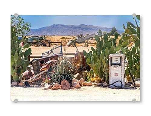 artboxONE Acrylglasbild 45x30 cm Natur No Petrol Bild hinter Acrylglas - Bild karre Petrol tankstelle