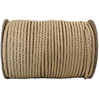 Cuerda de polipropileno, rollo de 50m de longitud y 5mm de grosor, en varios colores, cuerda trenzada, cordino, jarcia, cuerda de amarre, beige