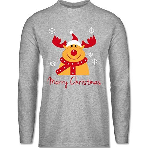 Weihnachten & Silvester - Merry Christmas Rentier - Longsleeve / langärmeliges T-Shirt für Herren Grau Meliert