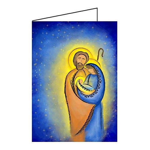 Weihnachtskarten Klappkarten A6 religiöse Motive - Krippe & Hl Familie - Grußkarten Weihnachten mit Umschlag ()