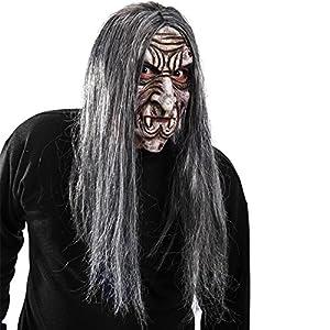 Carnival Toys - Máscara de látex vampiro rugoso con pelo con encabezado, color gris (1407)