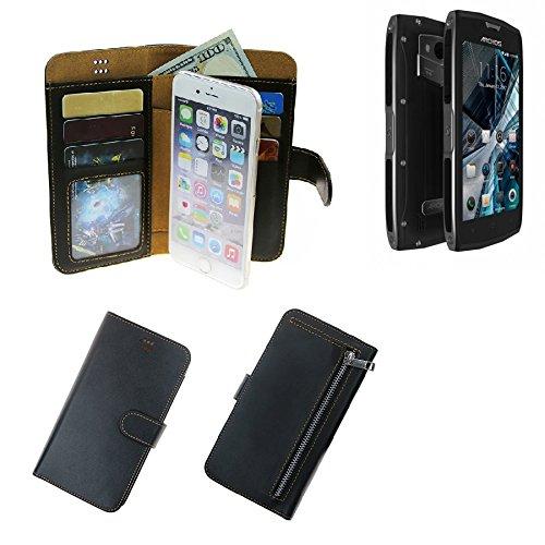 K-S-Trade Für Archos Sense 50 X Schutz Hülle Portemonnaie Case Phone Cover Slim Klapphülle Handytasche Schutzhülle Handyhülle schwarz aus Kunstleder (1 STK)