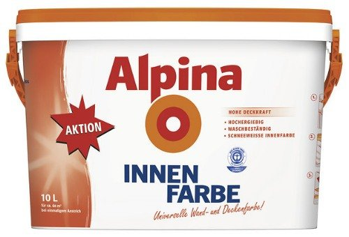 Preisvergleich Produktbild Alpina Innenfarbe, universelle Wandfarbe, 10 Liter, weiß, matt