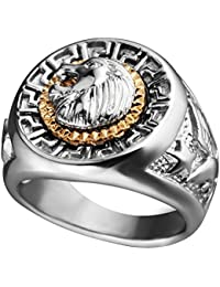 HIJONES Mens Stainless Steel Gold and Silver Hip Hop Lion Head Ring Signet Style