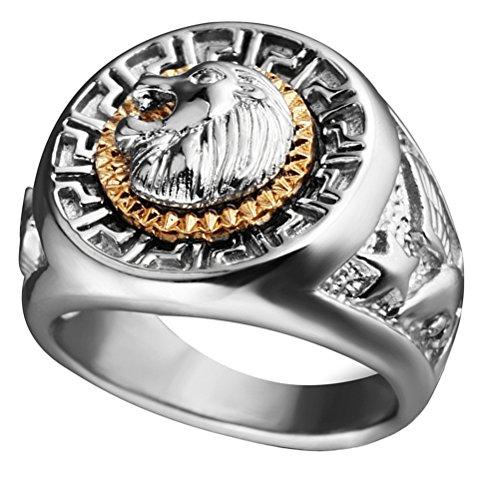 HIJONES Herren Edelstahl Silber Hip Hop Löwe Kopf Ring Signet Stil Silber Größe 60