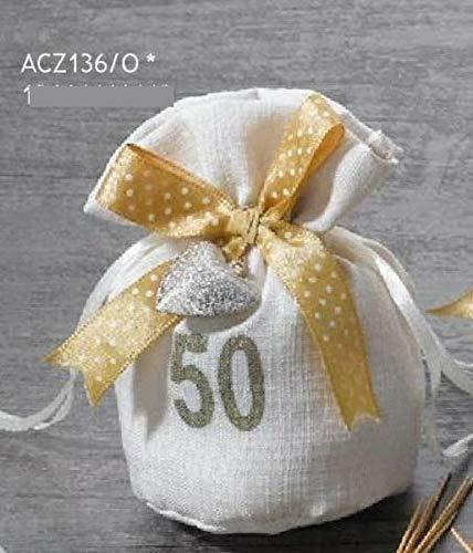 12 pz sacchetto portaconfetti 50 anni nozze d oro con nastro scritta e c