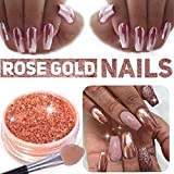Rose Gold Chrome Nagelpuder Spiegeleffekt Glitter Nail Powder Maniküre Pigmente (Rose Gold)