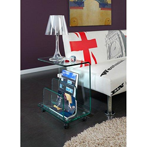 Table à roulette porte-revue en verre SAREK - L 50 x l 28 x H 54