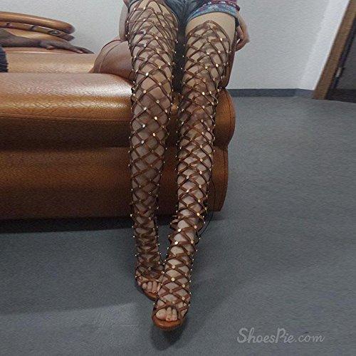 YMXJB Cool de maillage européen rivet bottes hautes bottes Brown