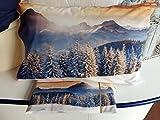 Completo Lenzuola Flanella SINGOLO in stampa digitale Pini Alberi Innevati - Montagna - Made In Italy Prodotto di Qualità Morbida flanella - Regalo di Natale !