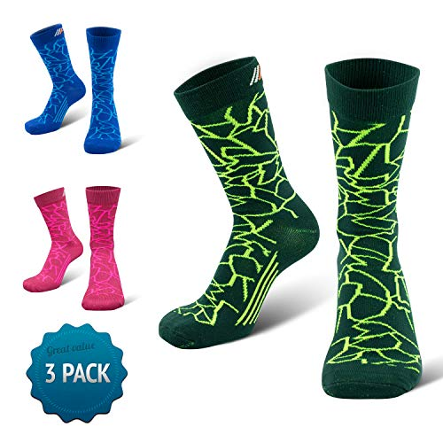 COMPRESSION FOR ATHLETES 3er Packung - CAMO Editions - Hochwertiger Quarter Socken von CFA Perfekt für alle Sportarten, Für Männer und Frauen. In der EU hergestellt. (Grün Camo 3-Paare, 35-38) -