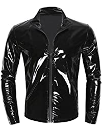 dPois Herren Glänzend Tops Langarm Shirt T-Shirt mit Reißverschluss Wetlook  Leder Hemd Männer Unterhemd Muskelshirt Clubwear… 77709827b8