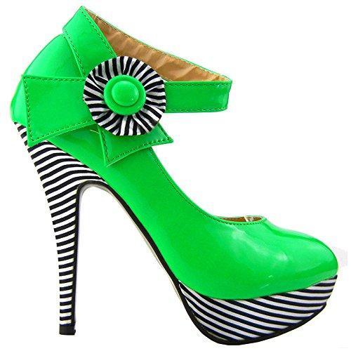 Visualizza Story sexy della caviglia Flower Strap banda stiletto della piattaforma pompa i pattini, LF30404 Verde