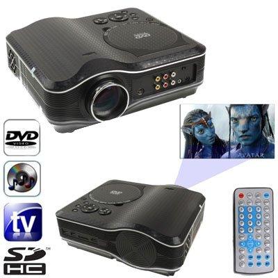 Projektor CELINEZL Tragbarer DVD-Projektor mit TV-Empfängerfunktion (PAL / NTSC / SECAM), AV IN / Out und Spielfunktion, Unterstützung für SD / MMC-Karte / USB-Flash-Disk -