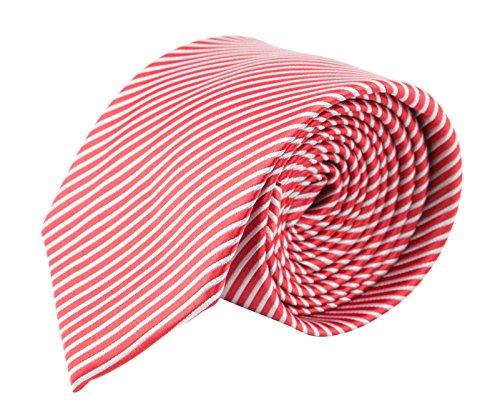 MASSI MORINO Herren Slim-Fit Krawatte, handgenäht aus Mikrofaser in verschiedenen Farben - schmale Mikrofaser-Krawatte, Skinny & Silk Ties (6cm) (Rot feingestreift) (Skinny Tie Weiße)