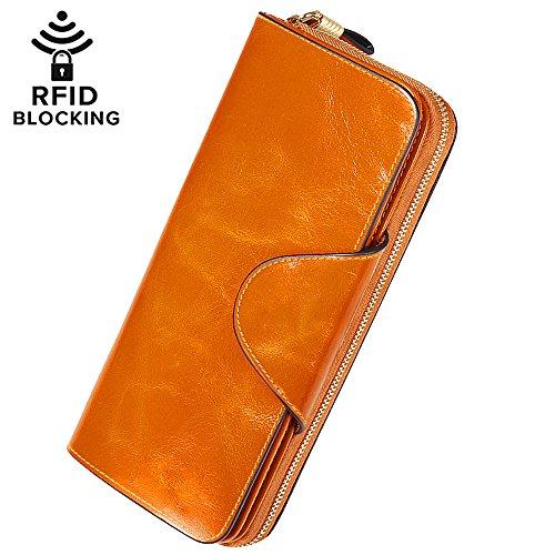 Damen Geldbörse Brieftasche aus Echt Leder Geldbeutel Geldtasche mit RFID Schutz, größer Kapazität, Multi-Kartensteckplatz auch als Handtasche bester Geschenk für Geburtstag, Valentinstag, Weihnachten (Leder Damen Echt)