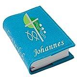 Gotteslob Gotteslobhülle Hülle Kreuz 2 grün Filz mit Namen bestickt Einband Umschlag personalisierte Gesangbuchhülle, Farbe:türkis