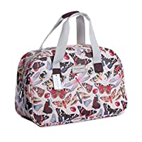 Oilcloth Holiday Travel Weekender Tote Bag Handbag Floral Owl Stripe Print