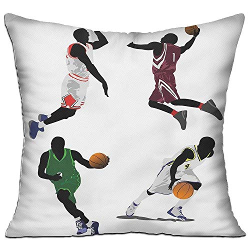 Side Zip Uniform (MLNHY Sports Basketball Players Dribbling Dunking Floater Vibrant Colored Uniforms Sportsmanship Decorative House Decor Throw Pillow Cover 18