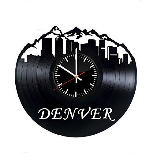 Welcome Dzen Store Denver Schallplatte Wanduhr-Get Einzigartige of Wohnzimmer Wand Decor-Geschenk Ideen für Damen und Herren-Denver Skyline Einzigartige Art Design