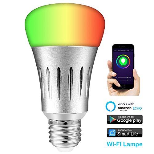 ESOLOM Smart LED Wifi Lampe, Smart Alexa Lampe RGB Dimmbar Glühbirne 600 Lumen E27 Birne Kompatibel mit Amazon Alexa und Google Home für IOS und Android, Steuerbar Via App, 60W äquivalent