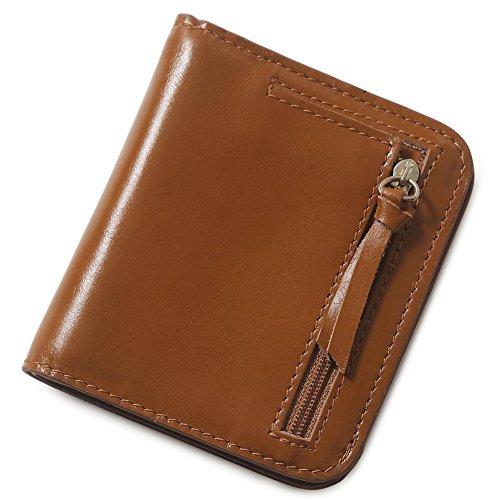 Teemzone borsa delle donne di cuoio Mini portafoglio carta titolare Zip piccola moneta frizione (Blu) Marrone