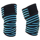 Fascia per Ginocchio (Coppia) - Compressione Knee Wraps Per Squat, Sollevamento pesi, Powerlifting, Cross WODs Formazione, Allenamento Palestra - Per Uomini & Donne (Blu)