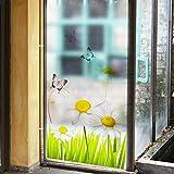 PVCOLL Fensterfolie GlasfolieSchmetterling Gras Kreative Kunst Abnehmbare PVC Umweltschutz Fenster Film Wohnzimmer Schlafzimmer Sofa Möbel Dekoration DIY Ungiftig 60 * 116 cm