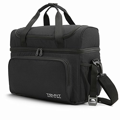 Tourit borsa termica 22l borsa frigo porta pranzo grande capacità borsa frigo pranzo ufficio 38l x 27w x 21h cm nero