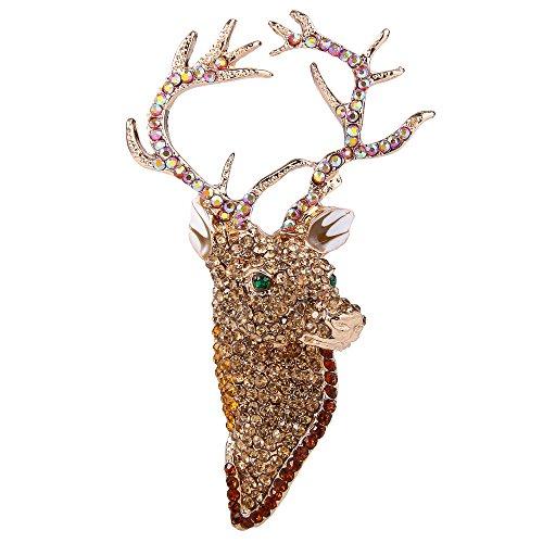 EVER FAITH® österreichisches Kristall Elegant Hirsch Kopf Art Deco Brosche Modeschmuck braun Gold-Ton N02201-4 (Tier Broschen Modeschmuck)