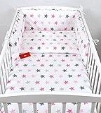 BABYLUX Bettwäsche Bezug 2 Tlg. 100 x 135 cm Kinderbettwäsche Bettwäsche Bettset Babybettwäsche (93. Sterne Rosa)