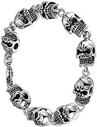 Stainless Steel Men's Biker Gothic Skull Link Bracelet 23.8cm- G6021QY1
