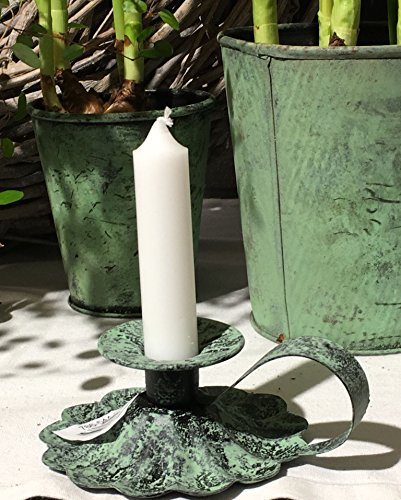 Kerzenhalter Kerzenständer Kerzenleuchter Kammerleuchter ROSA, Affari Grün Shabby Chic L 13 cm B...