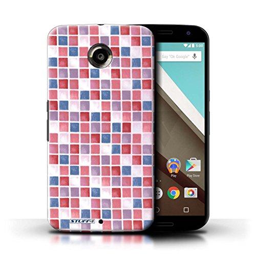 Kobalt® Imprimé Etui / Coque pour Motorola Nexus 6 / Bleu/Blanc conception / Série Carreau Bain Rouge/Bleu