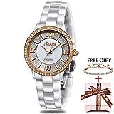 SUNKTA Relojes para Mujer Cuarzo analógico Reloj Impermeable Oro Rosa Cerámica Reloj de Pulsera Señoras Chicas Casual Vestido Delgado Sencillo Negocios Relojes Blanco