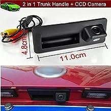 2en 1mango para el maletero del coche de recambio + Cámara de auto reverse vehículo aparcamiento copia de seguridad cámara de visión trasera 170grados impermeable ajuste personalizado para Audi A3A4A5A6A7S5Q3Q5Q7(tamaño: 11cm x 5cm)