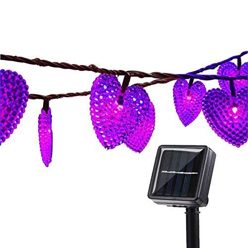 Solar Lichterkette Garten,KINGCOO 20ft 30LEDs Romantisch Liebe Herzform Wasserdicht Weihnachten Solar Sternenhimmel Schnur Lichter mit 8 Modi für Halloween Hochzeit Party(Lila)