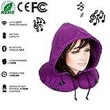 WANZIJING Unisex Reisekissen Nackenkissen Memory Foam Bluetooth 4.2 U-förmiges Musikkissen mit Hut für Mann und Frau