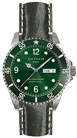 Oxygen Campo 40 Herren Armbanduhr Analog Kunststoff grün Lederband EX-D-CAM