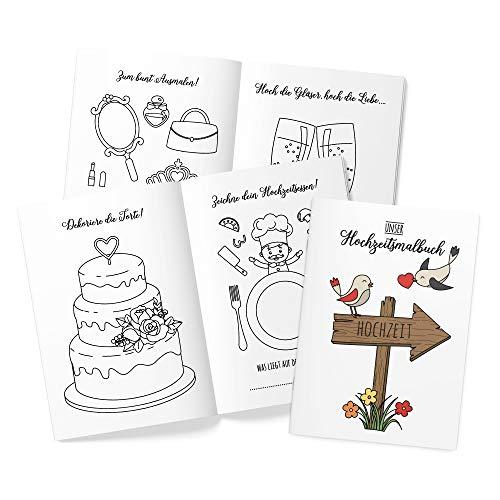 10 Stück Hochzeitsmalbuch DINA6 24-seitig liebevoll gestaltetes Malbuch Hochzeit Kinder-Beschäftigung Gastgeschenke