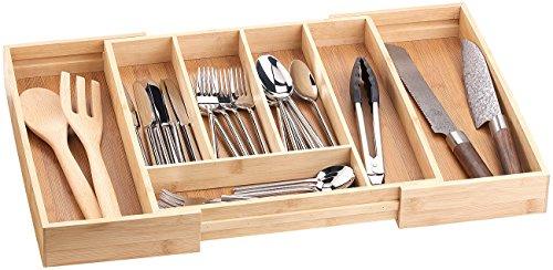 Rosenstein & Söhne Besteckkasten: Variabler Bambus-Besteckeinsatz, 5 - 7 Fächer, ausziehbar 36 - 58,5 cm (Schubladeneinsätze)