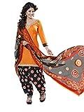 Inddus Women Orange & Black Cotton Satin...