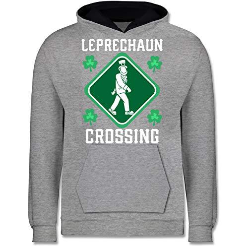 Shirtracer Anlässe Kinder - Leprechaun Crossing - 12-13 Jahre (152) - Grau meliert/Navy Blau - JH003K - Kinder Kontrast Hoodie