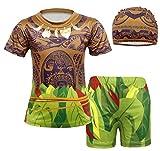 Jurebecia 3pcs Moana Maui Ragazzi Nuoto Costume da Bagno Top + Pantaloncini da Bagno Costume da Bagno Costumi da Bagno
