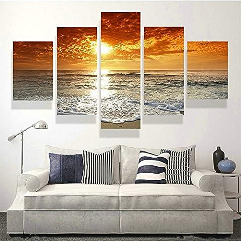 swmart 5Panel modernen Malerei Sea Wave Bilder Bilder Home Decor Wall Art Ocean Sunset Gemälde Drucke (kein Rahmen) swm15127x 76,2cm, Framed, 60
