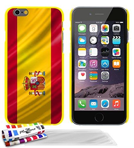 Ultraflache weiche Schutzhülle APPLE IPHONE 6 / 6S [Spanien Flagge] [Lila] von MUZZANO + STIFT und MICROFASERTUCH MUZZANO® GRATIS - Das ULTIMATIVE, ELEGANTE UND LANGLEBIGE Schutz-Case für Ihr APPLE IP Gelb + 3 Displayschutzfolien